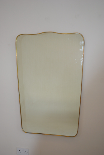Large Sculpted Brass Mirror