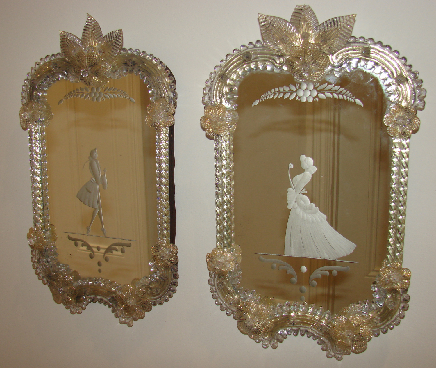 Antique pair of Venetian Mirrors