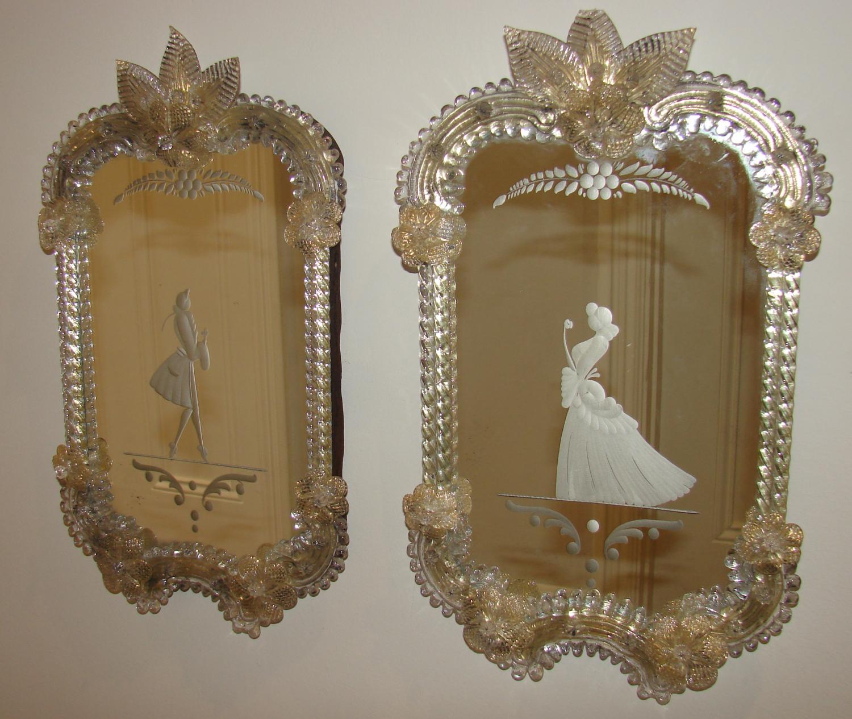 Antique pair of Venetian Mirrors