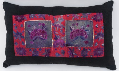 Embroidered Chinese floral cushion