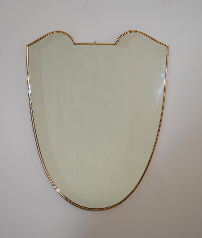 50`s Brass Shield Mirror