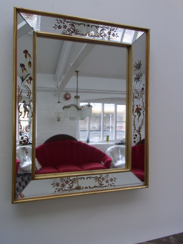 Mirror With Reverse-Painted Panels
