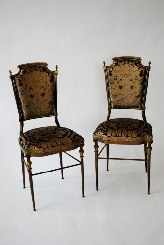 Pair of Mid Century Italian brass framed side chairs