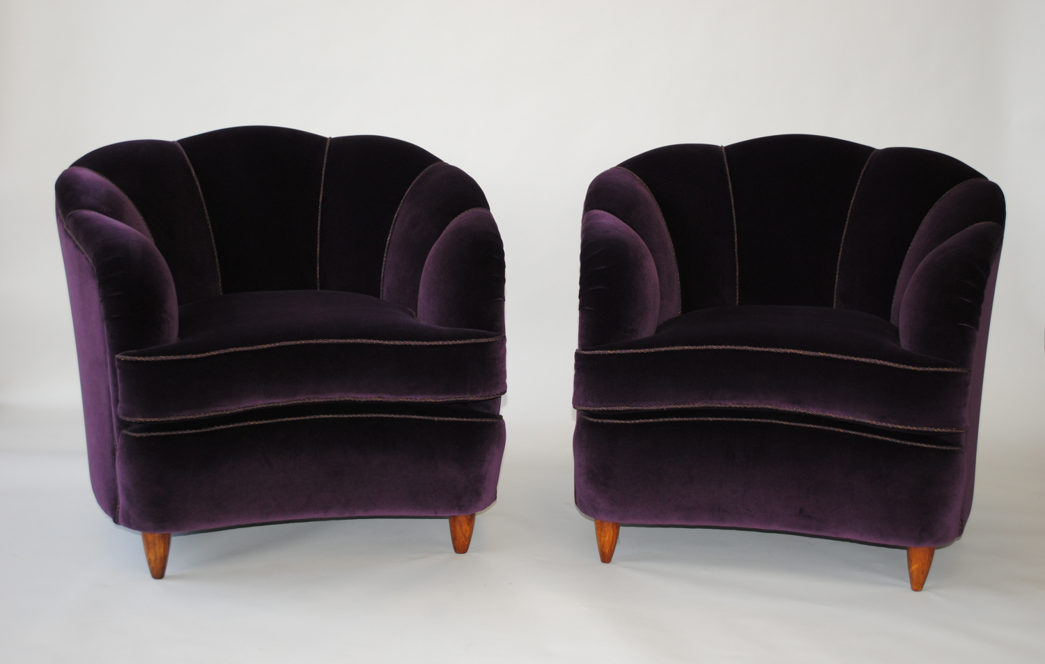 Large reupholstered 50`s Italian sculpted chairs