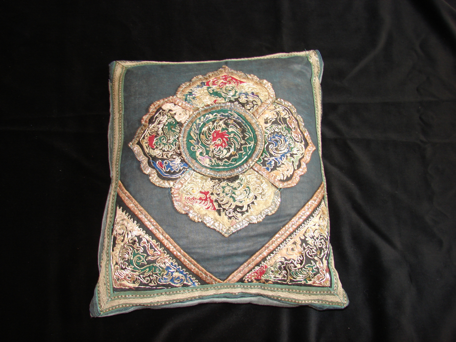 A mid 20th century Chinese embroidered cushion