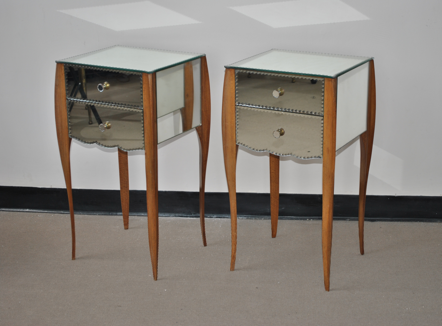 Art Deco Mirrored Bedside Tables