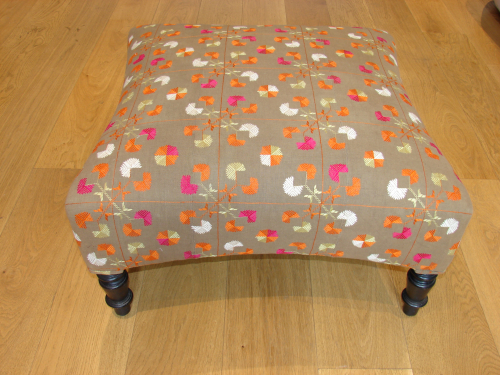 Victorian Phulkari footstool