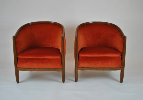 Pair of reeded armchairs