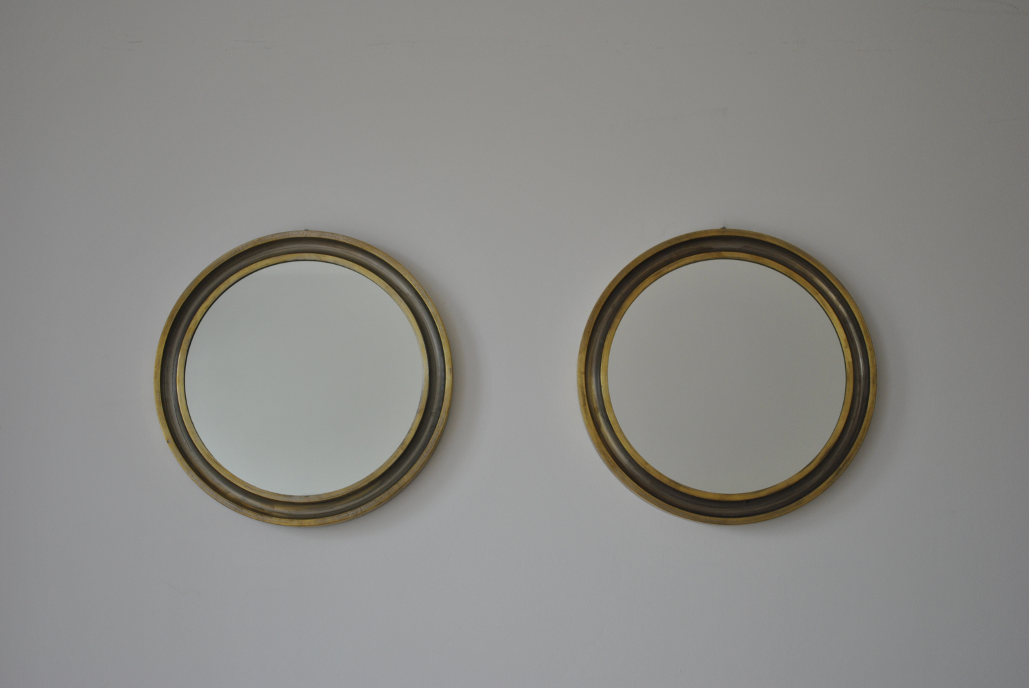 Pair of Brass Circular Mirrors
