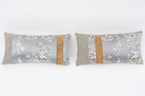 Pair of silk damask cushions