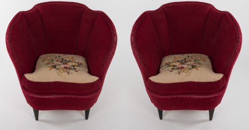 Pair of sculpted Italian armchairs