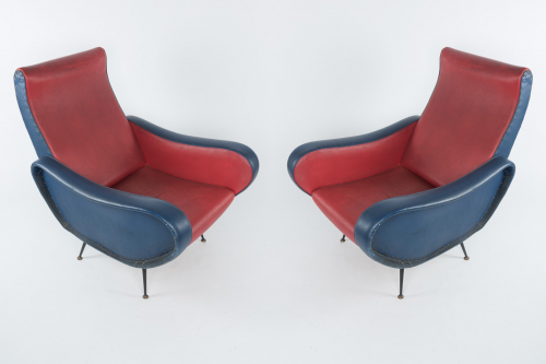 Pair of Italian red/blue armchairs