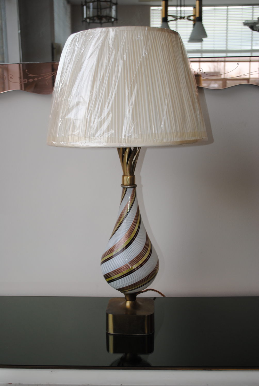 Brass and Glass Table Lamp