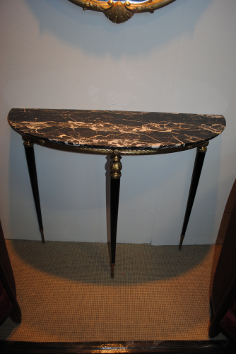 Mid Century ebonised and brass console with rare marble top
