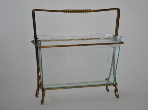 Glass & Brass Magazine Rack