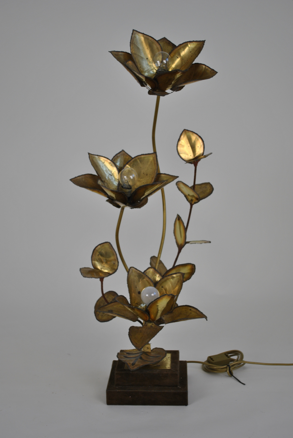 Gilt Brass Flower Lamp
