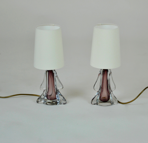 Lilac glass bedside lamps
