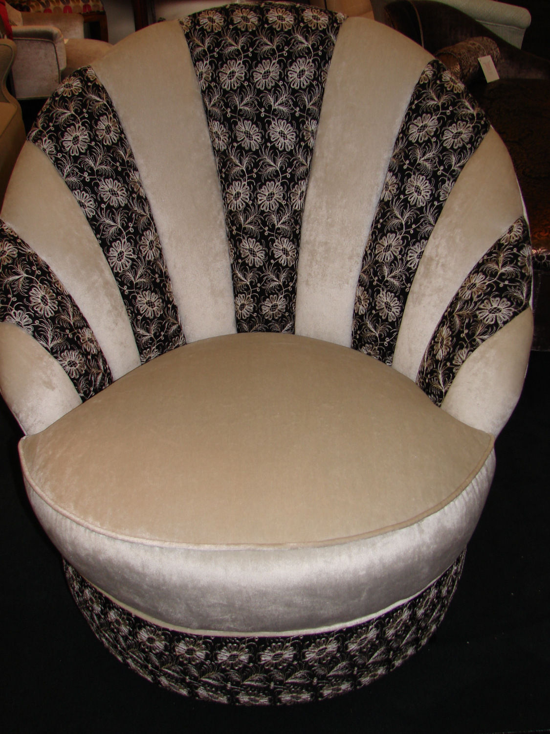 Ivory velvet shell chair with black and white 30`s embroidery