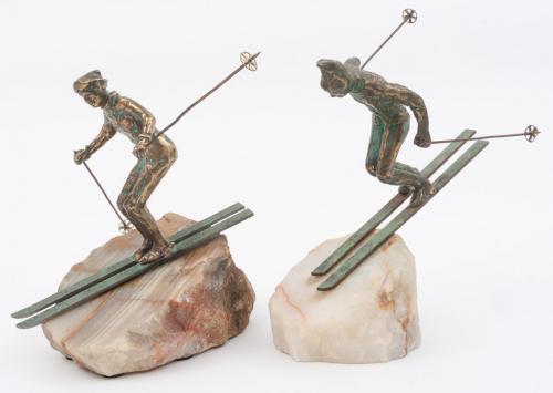 Pair of bronze skiers by Curtis Jere