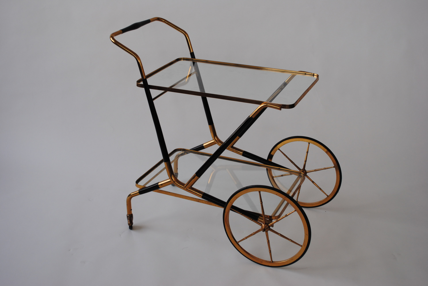 Brass and Ebonised Wood Trolley