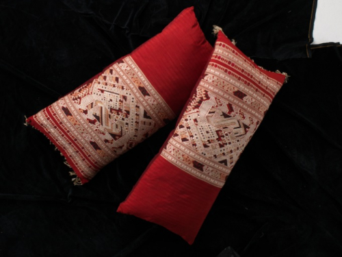 19th Century silk Laos cushions