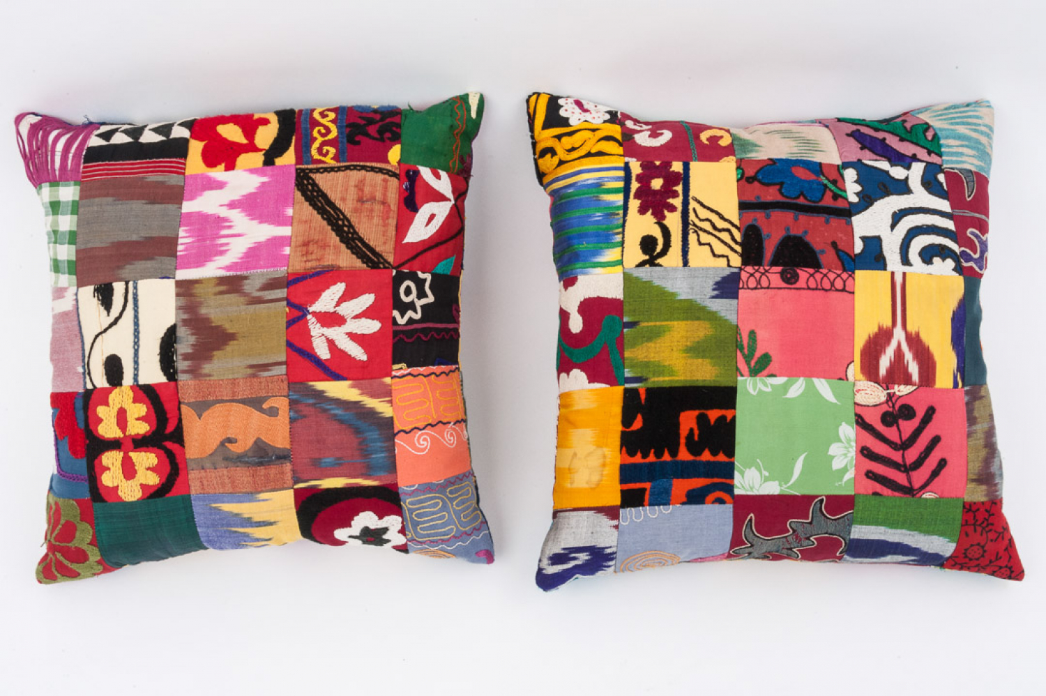 Pair of Suzani patchwork cushions