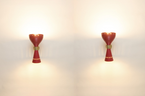 Red lacquer wall lights