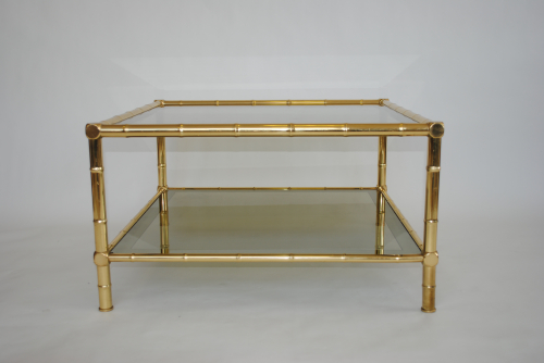 Brass Faux Bamboo Coffee Table