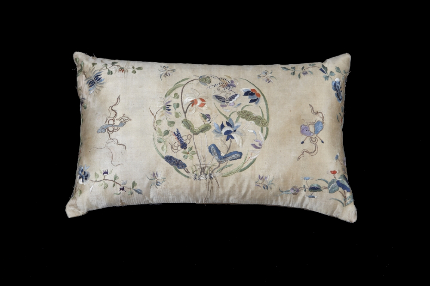 A 19th century Japanese embroidered cushion