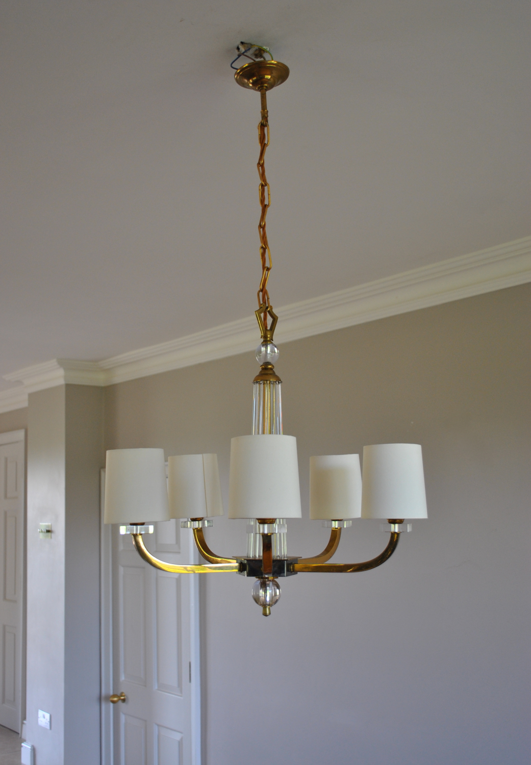 Art Deco 5 Arm Chandelier 2