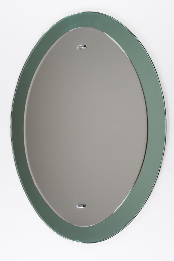 Elliptical Green Framed Mirror
