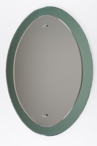 Elliptical Green Framed Mirror