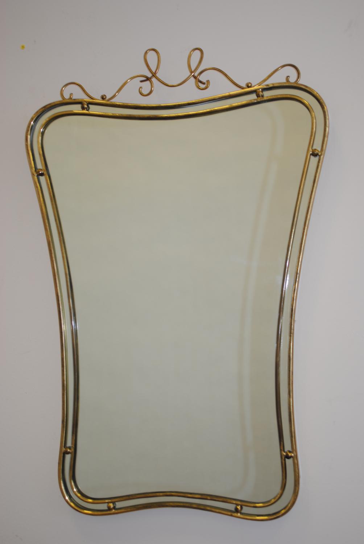 Elaborate 1950`s Brass Mirror
