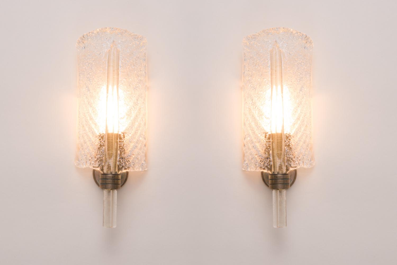 Pair of leaf wall lights