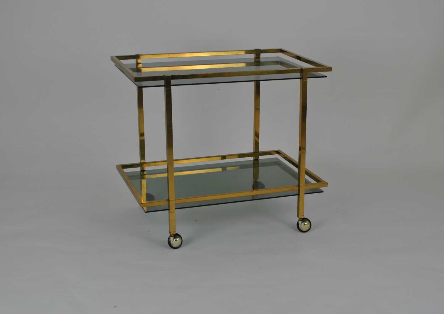 Brass Trolley With Smoked Glass