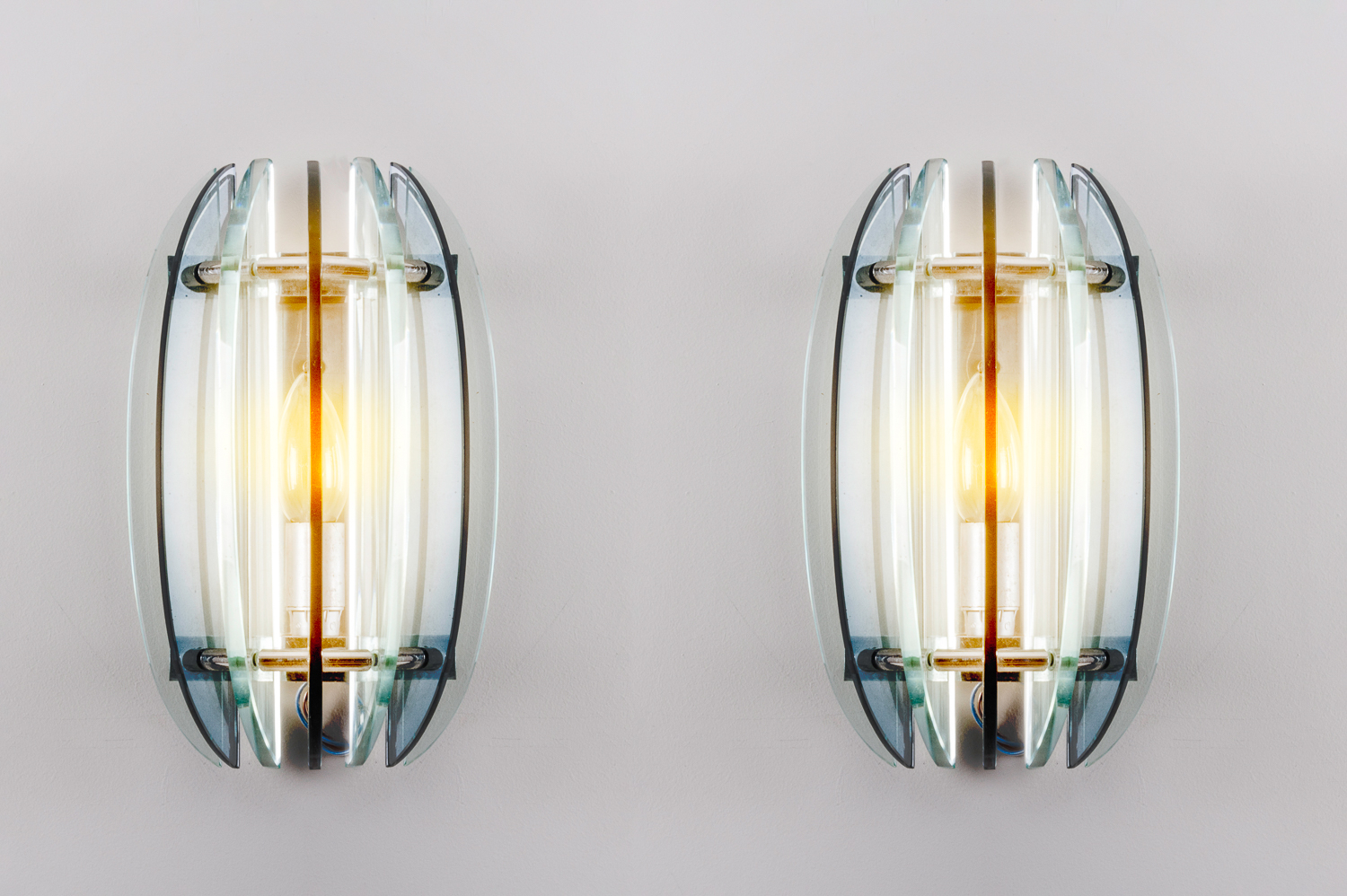 Pair of amber/ clear wall lights