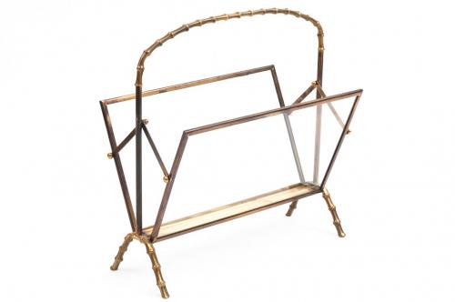 Brass Faux bamboo magazine rack