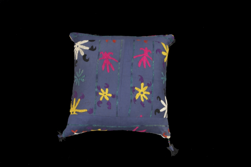 A large mid century Suzani embroidered cushion