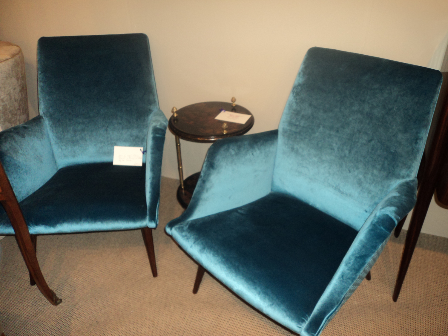 Pair of 1950`s Italian chairs in turquoise velvet