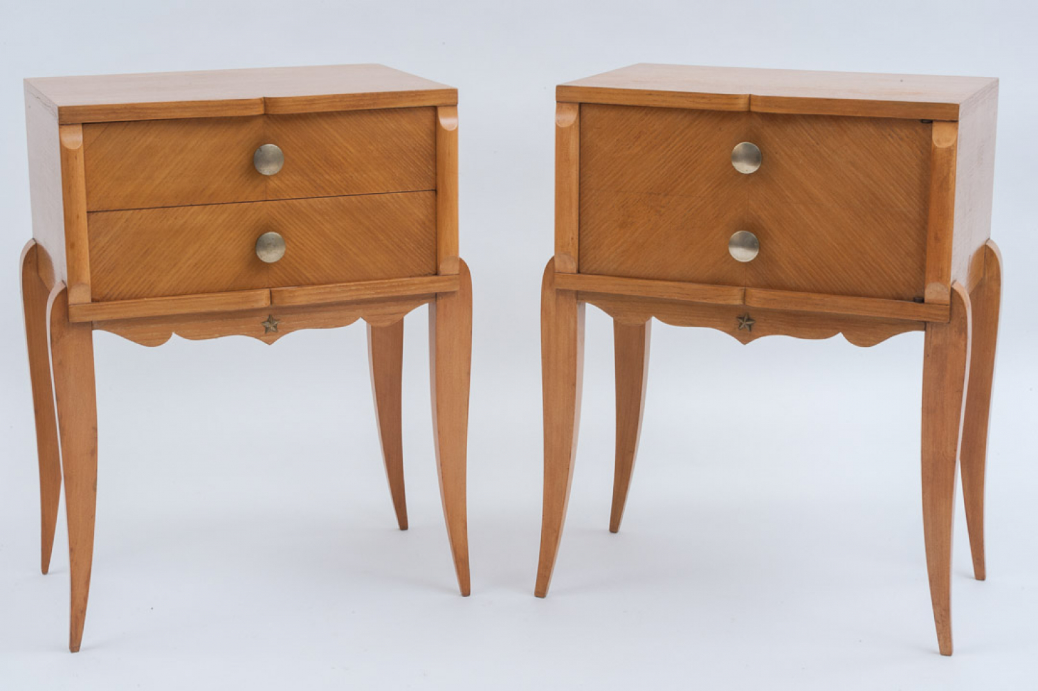 Pair of French Beech Bedside Tables