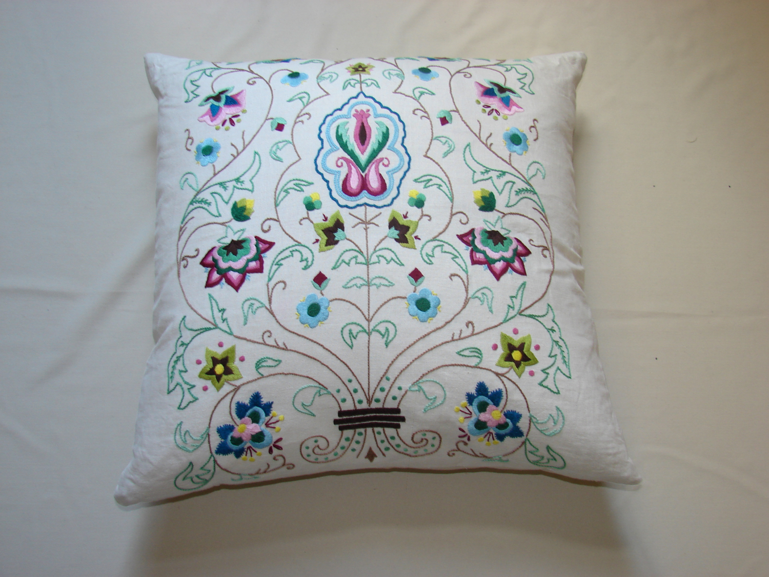 Arts and Crafts embroidered cushion