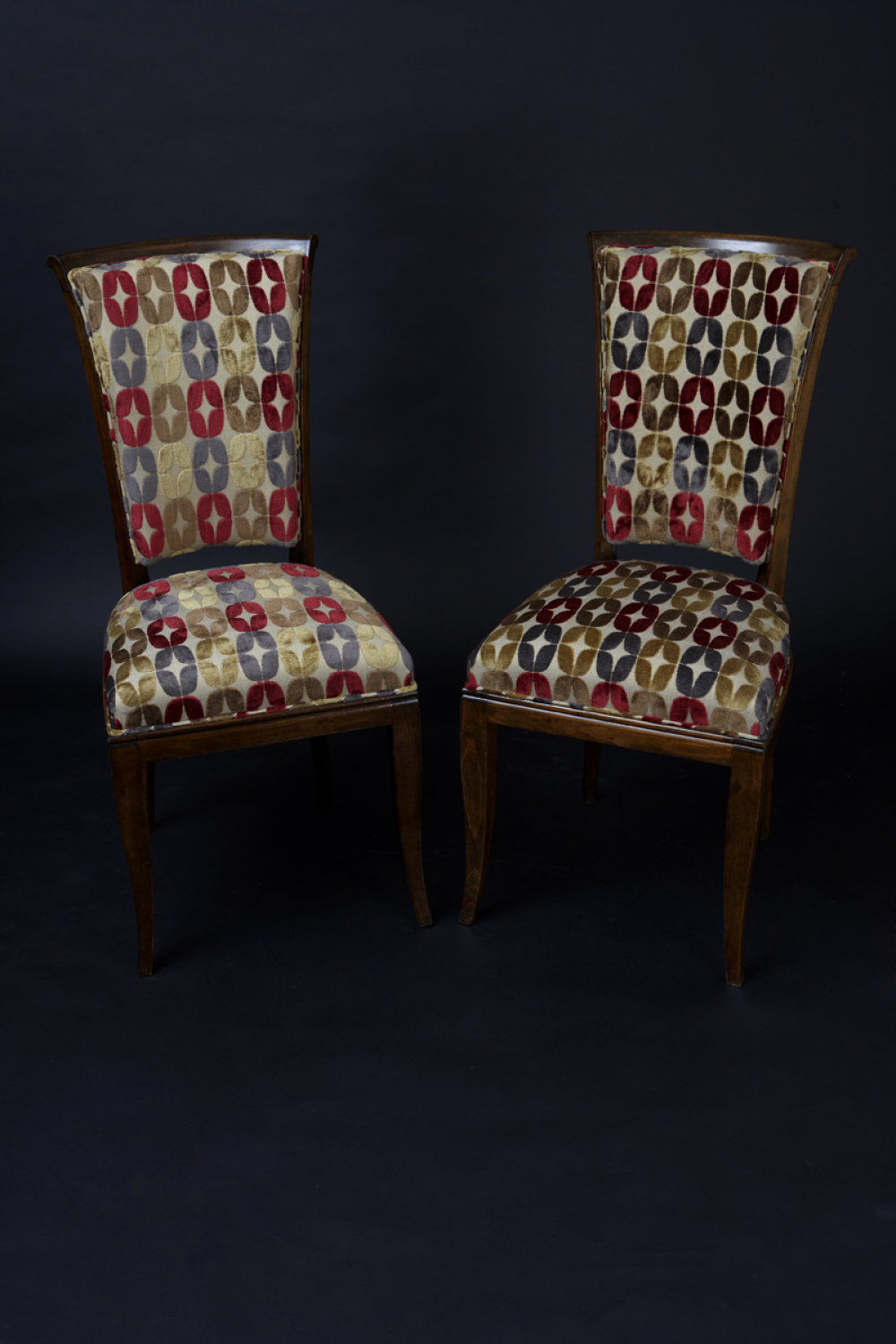 Six 1930`s dining chairs with Art Deco style fabric
