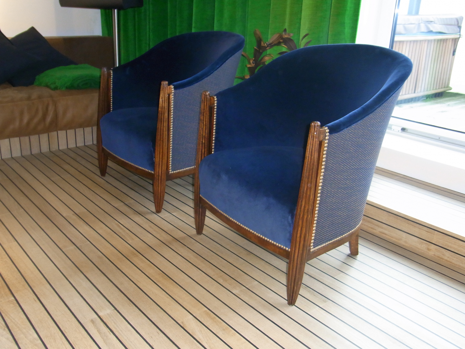 Pair of French 40`s tub chairs with reeded legs