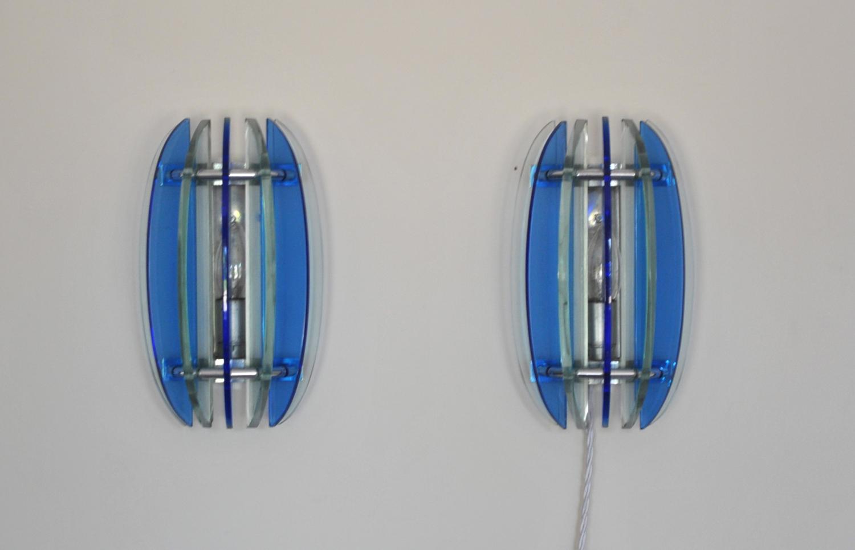 Blue Glass Wall Lights