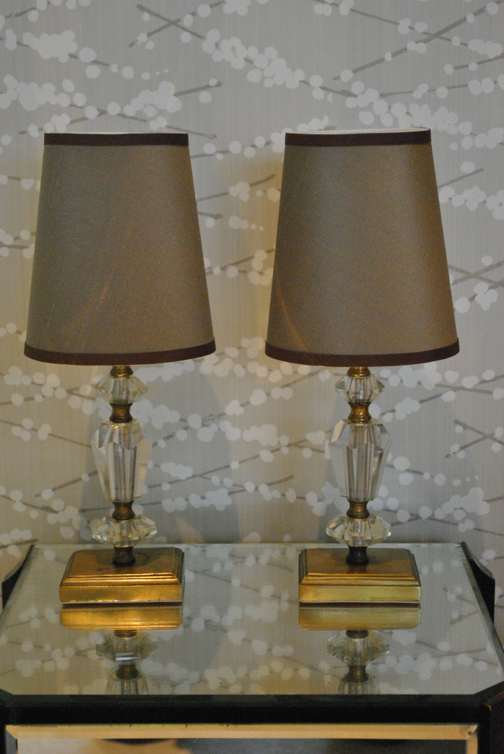 Brass And Glass Bedside Lamps