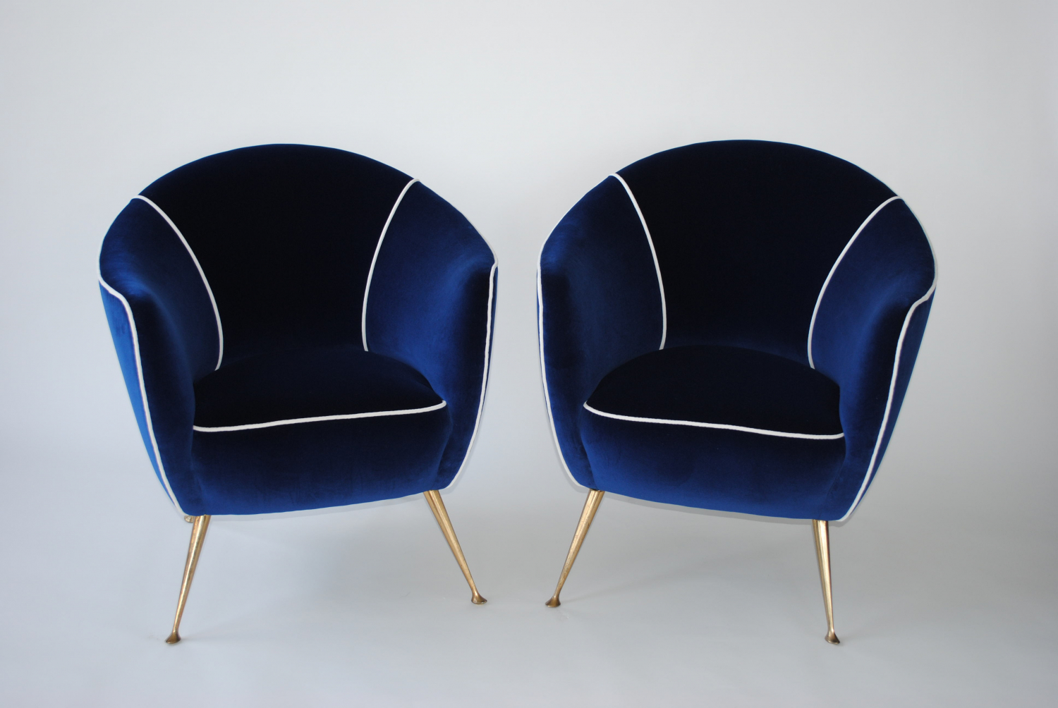 Blue Velvet 50`s Italian Chairs