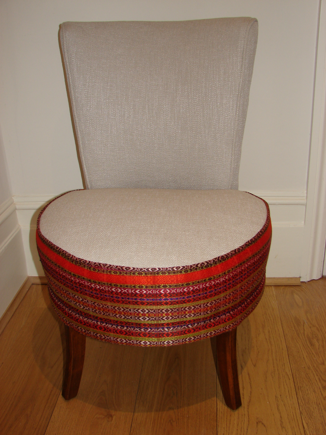 Nursing/ fireside chair with vintage panel from Pakistan