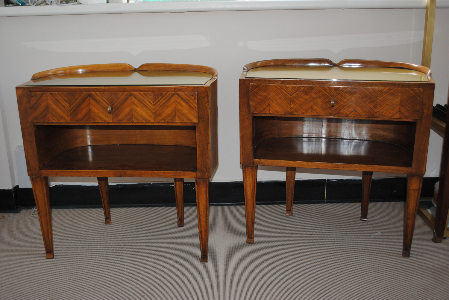 Mid century Italian Walnut bedside tables