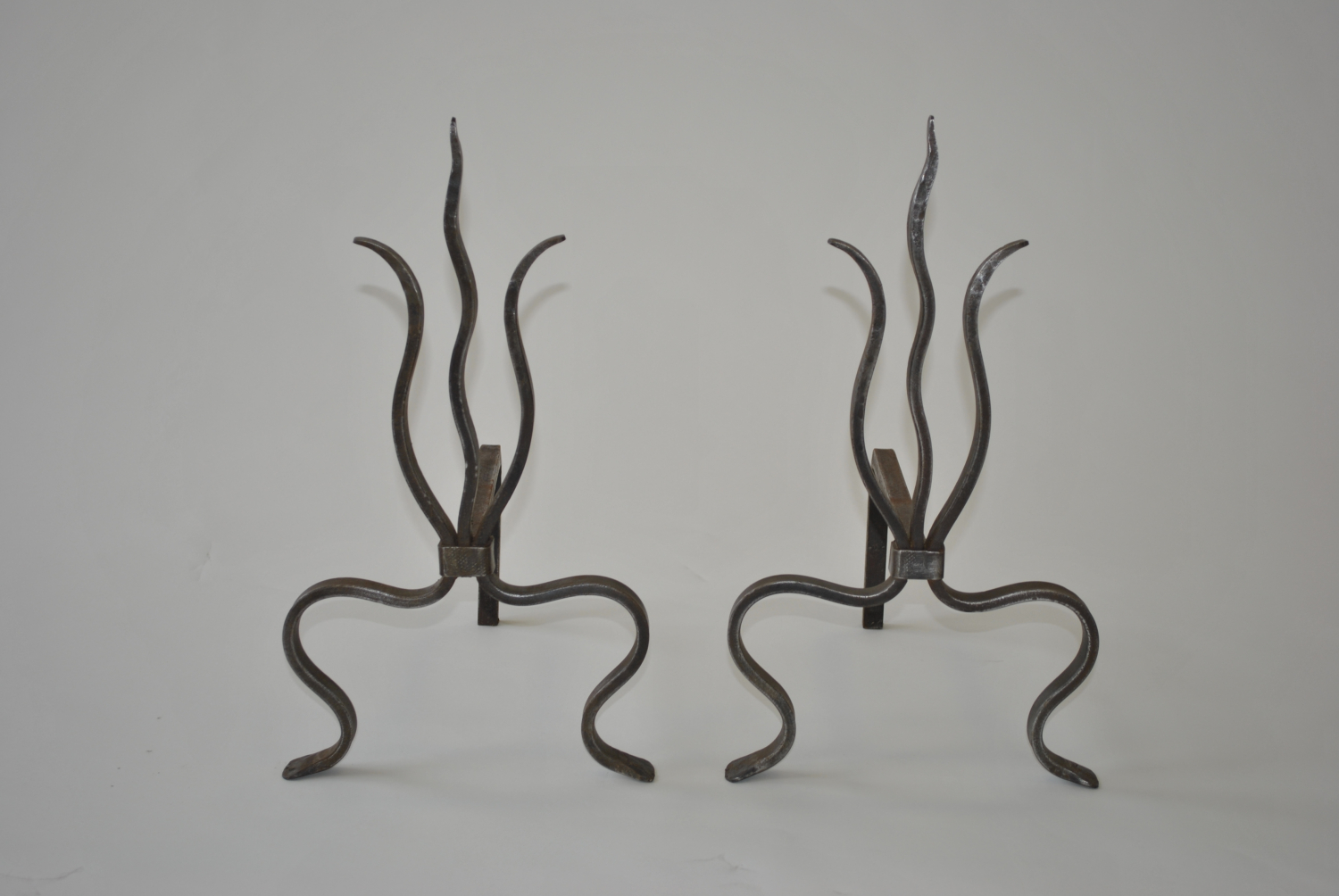 Wrought Iron Fire Dogs / Andirons