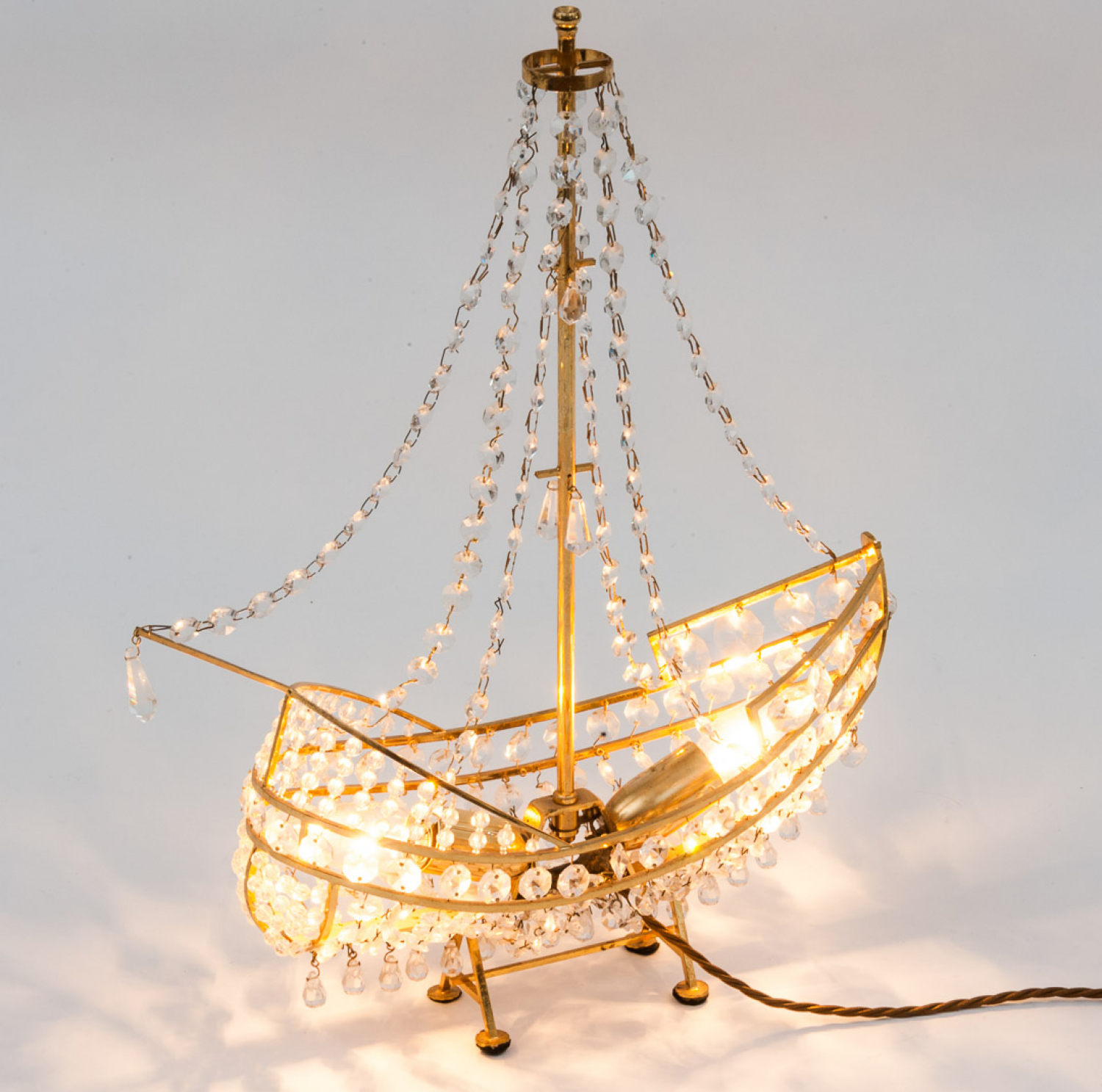 Brass and glass ship lamp
